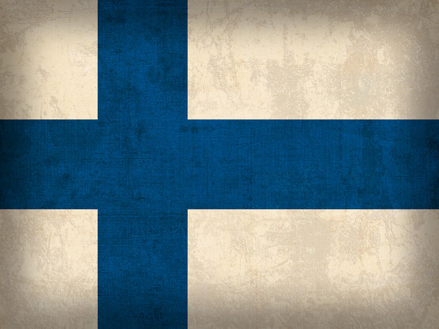 Finland Flag Vintage Distressed Finish Mixed Media by Design Turnpike
