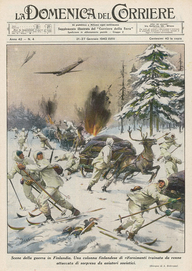 Soviet Drawing - Finland  Soviet Aircraft Attack by Mary Evans Picture Library