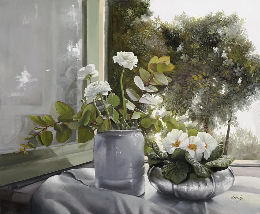 White Flowers Painting - Fiori Bianchi Alla Finestra by Guido Borelli