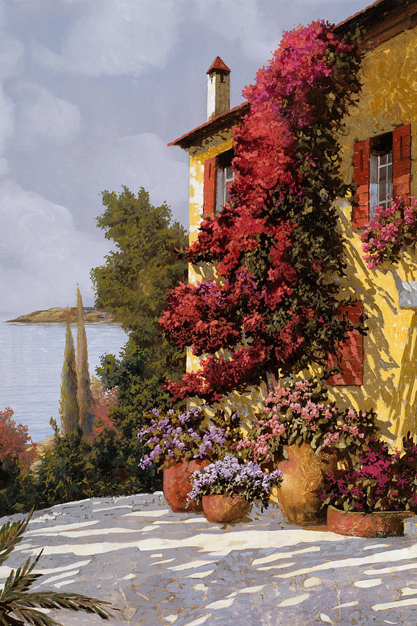 Red Flowers Painting - Fiori Rosssi E Muri Gialli by Guido Borelli