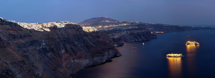 Fira And Caldera At Night, Santorini Photograph by Michaelutech