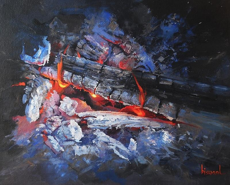 Fire Painting - Fire-1 by Bijay Biswaal