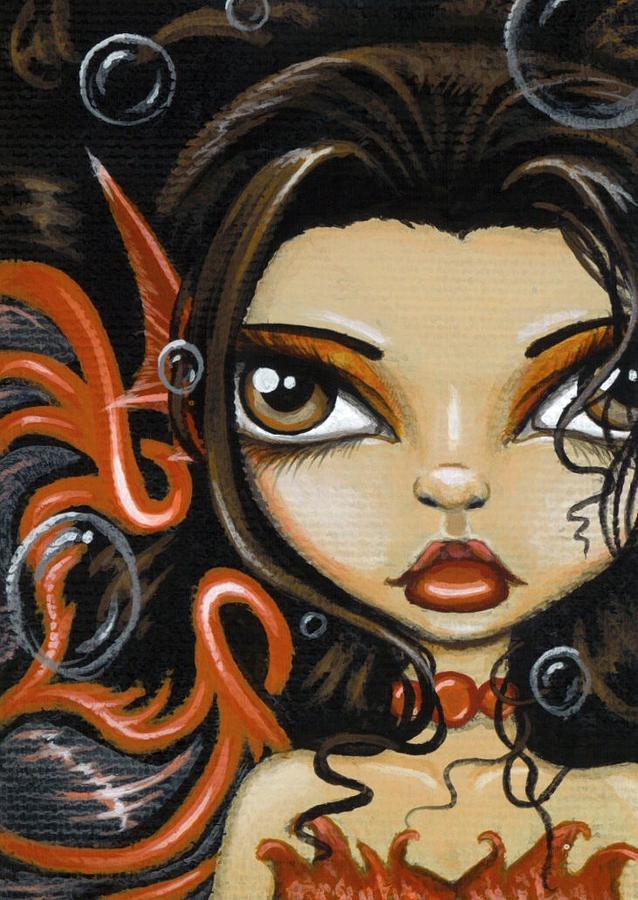 Fantasy Mermaid Painting - Fire Beneath The Sea by Elaina  Wagner