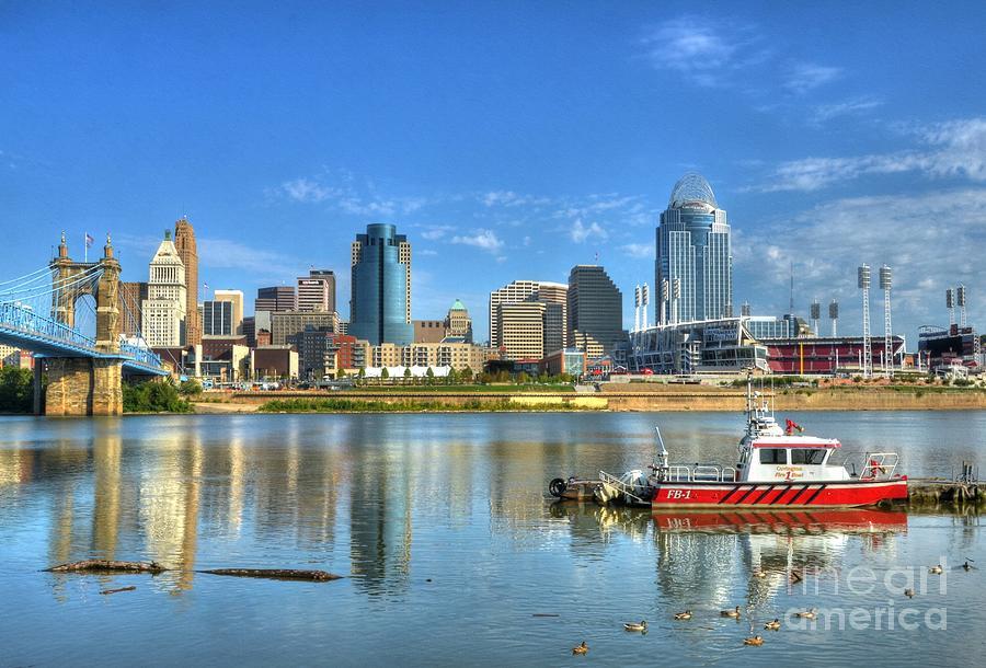 Cincinnati Photograph - Fire Boat 1 by Mel Steinhauer