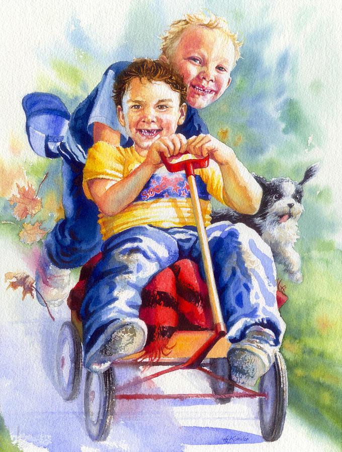 Children Painting - Fire Brigade  by Hanne Lore Koehler