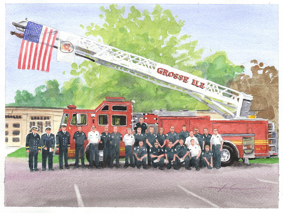 Fire Brigade Truck Watercolor Painting Drawing by Mike Theuer