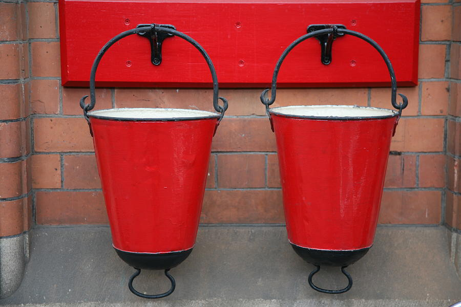 Fire Photograph - Fire Buckets by Mark Severn