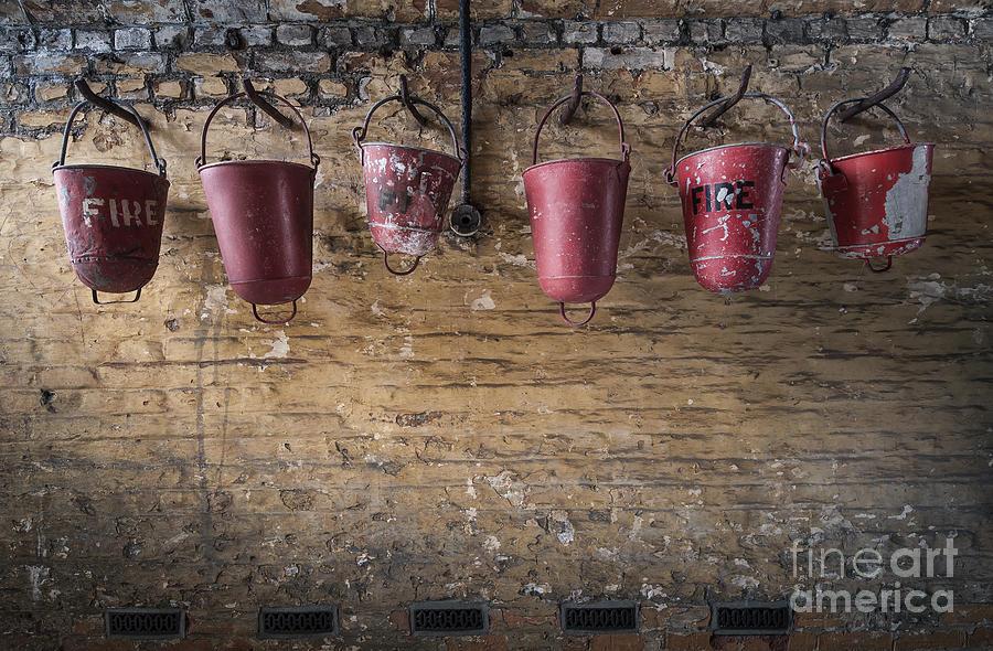 Brick Photograph - Fire Buckets by Svetlana Sewell