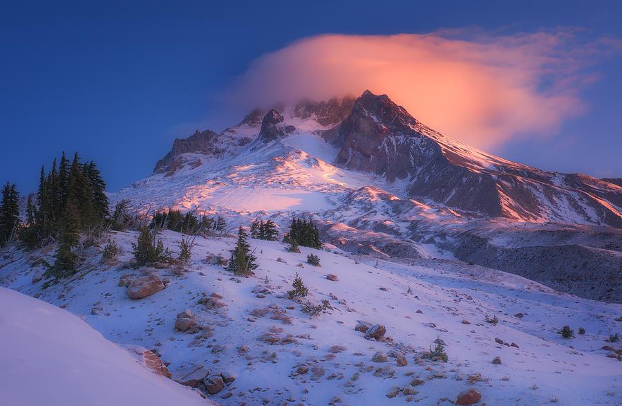 Mount Hood Photograph - Fire Cap by Darren  White