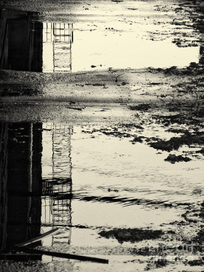 Puddle Photograph - Fire Escape Reflected by Mark Thomas