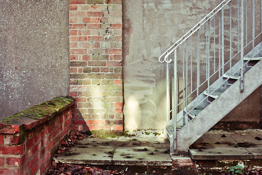 Banister Photograph - Fire Escape Stairs by Tom Gowanlock