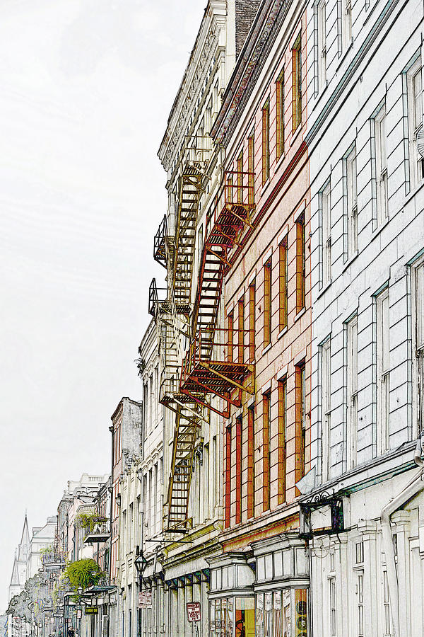 Outdoor Photograph - Fire Escapes New Orleans by Christine Till