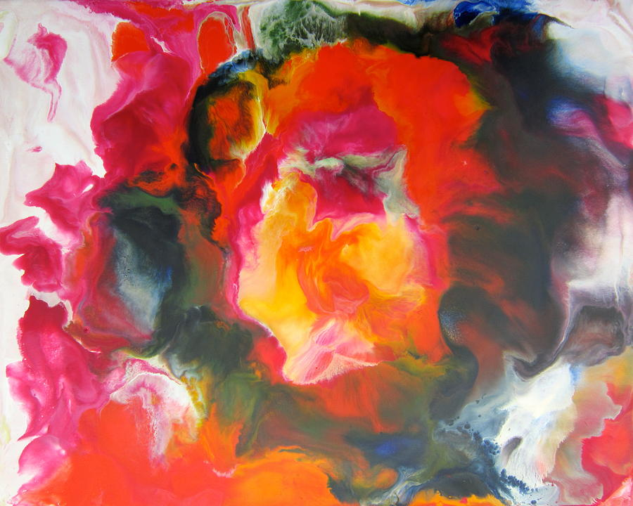 Encaustic Painting - Fire Flower Abstract by Marita McVeigh
