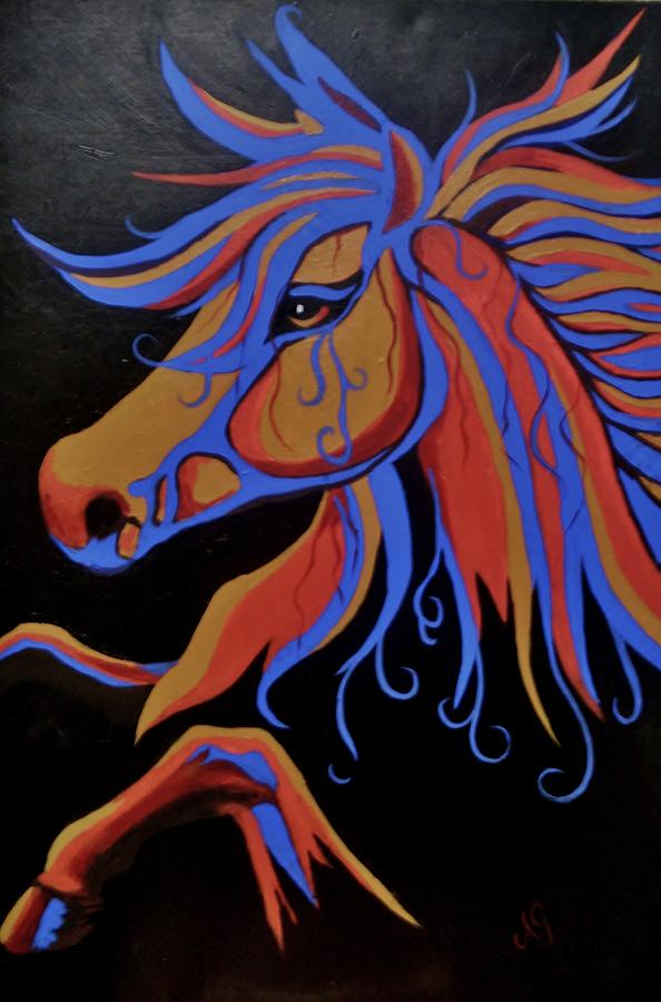 Horse Painting - Fire Horse by Anne Gardner