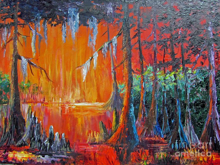 Bold Colors Painting - Fire in the Bayou by Barbara Haviland