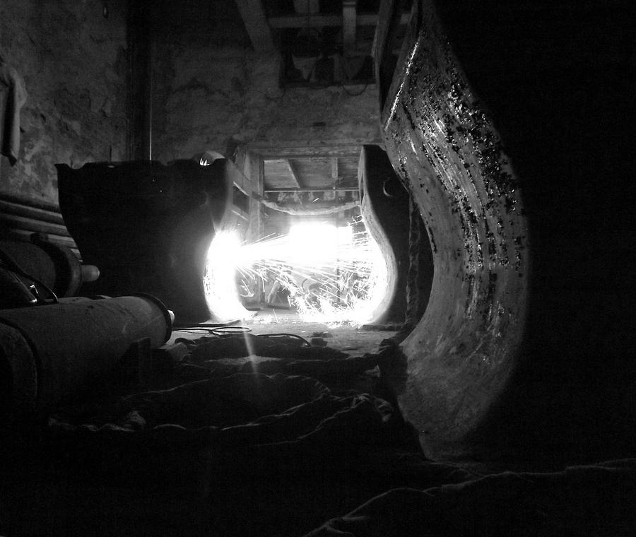 Fire Photograph - Fire In The Hole Bw by Elizabeth Sullivan