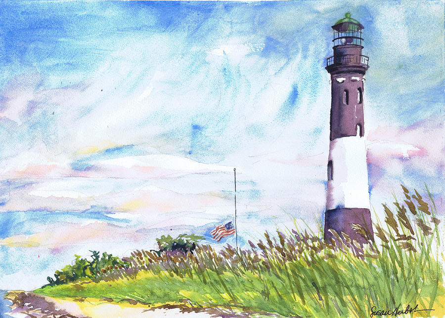 Fire Island Lighthouse Painting - Fire Island Lighthouse Late Summer by Susan Herbst
