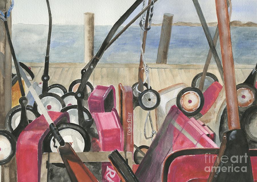 Painting Painting - Fire Island Wagon Parking by Sheryl Heatherly Hawkins