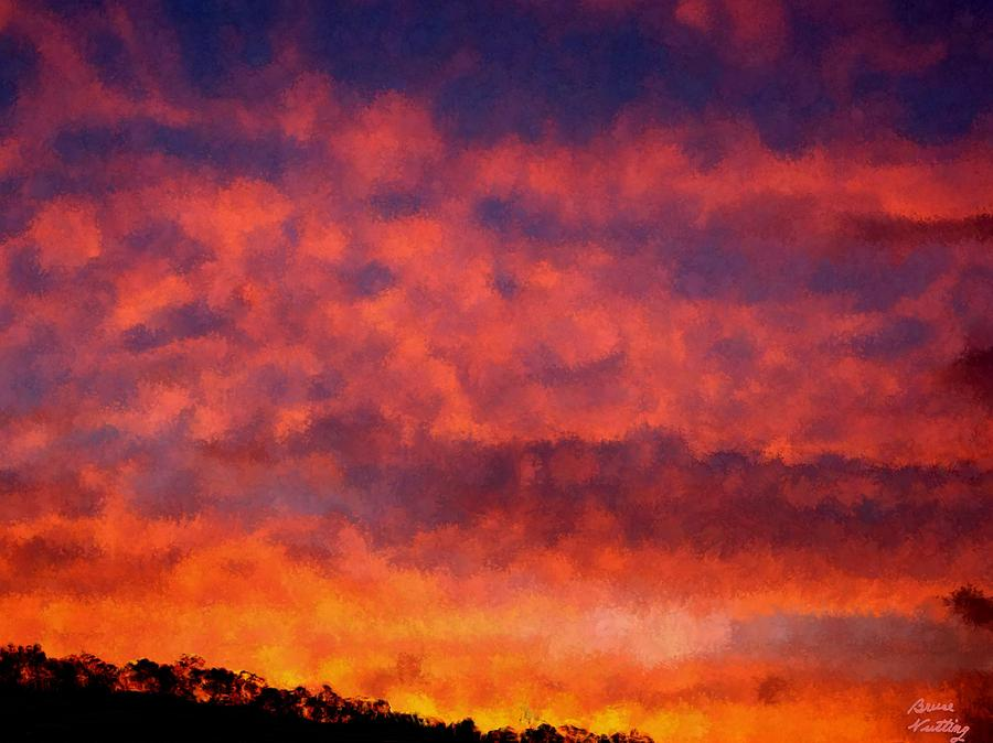 Sunset Painting - Fire On The Hillside by Bruce Nutting