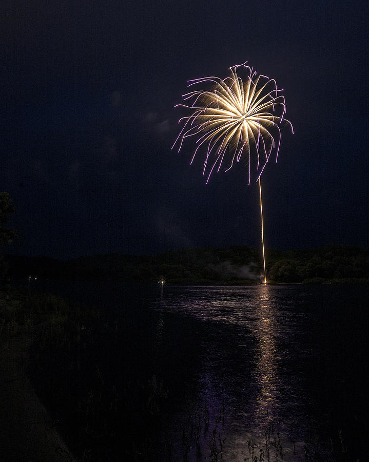 Fireworks Photograph - Fire On The River Purple by Tim Radl