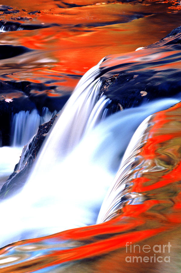 Waterfall Photograph - Fire On Water Fall Reflections by Robert Kleppin