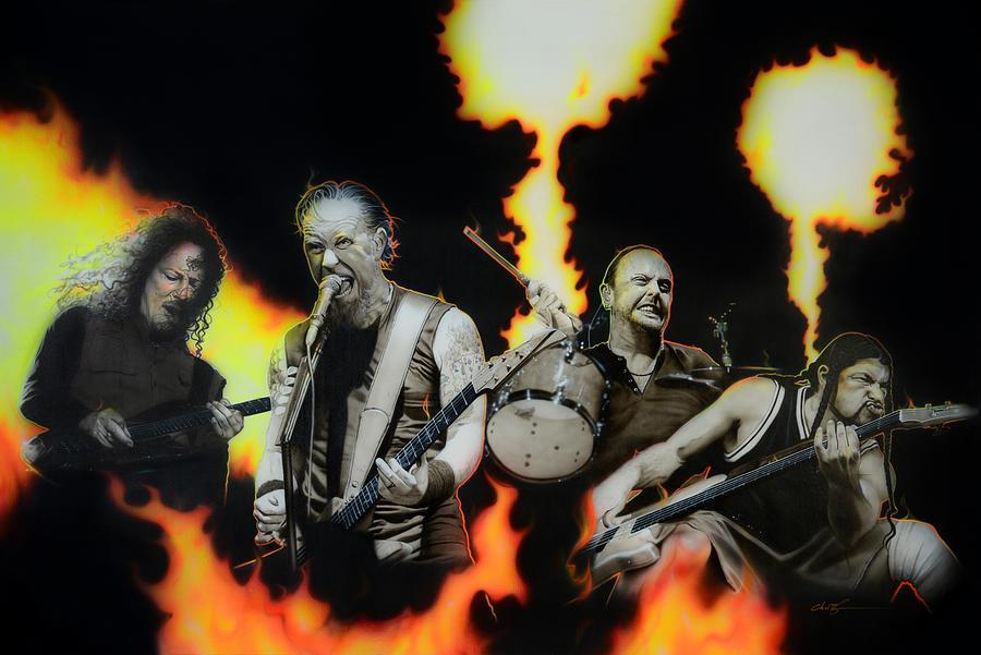 Metallica Painting - Metallica -  Fire Rain On Me  by Christian Chapman Art