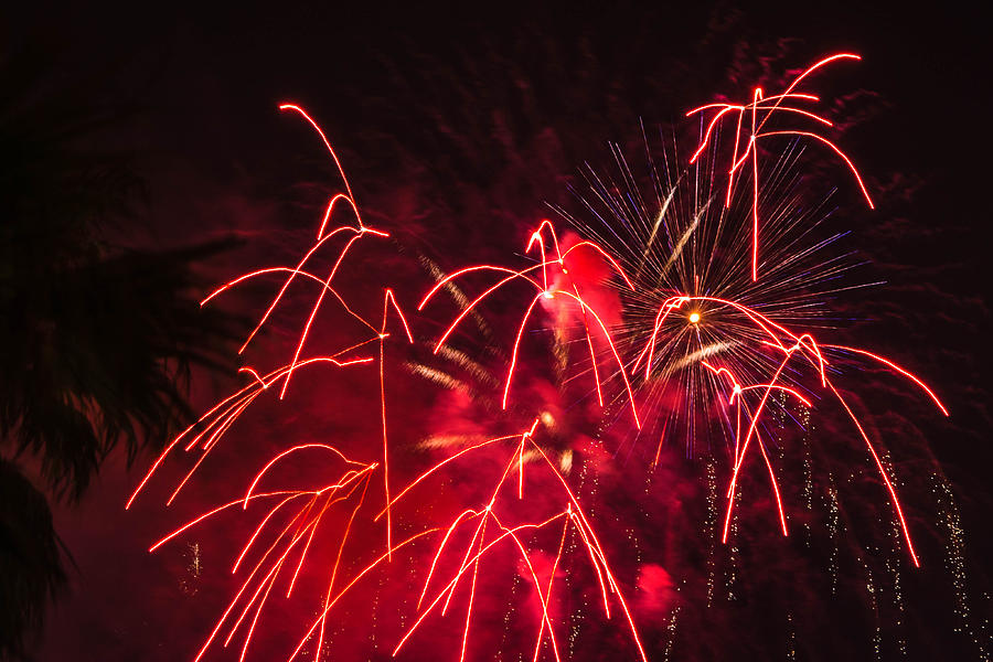 Red Photograph - Fire Red Orange Fireworks Galveston by Jason Brow