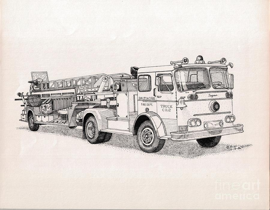 fire truck company two drawing by calvert koerber