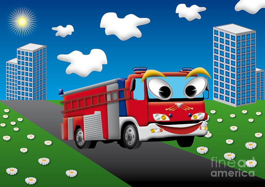 fire truck for kids digital art by fabian roessler