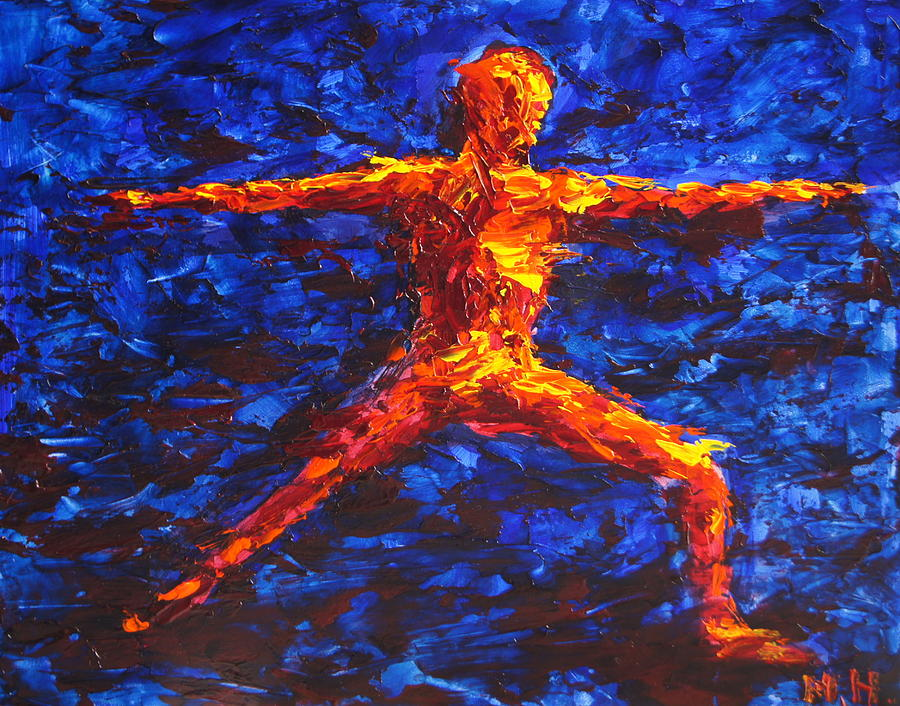 Yoga Painting - Fire Warrior by Mary Haas