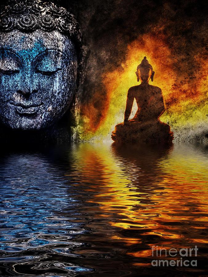 Buddha Photograph - Fire water Buddha by Tim Gainey