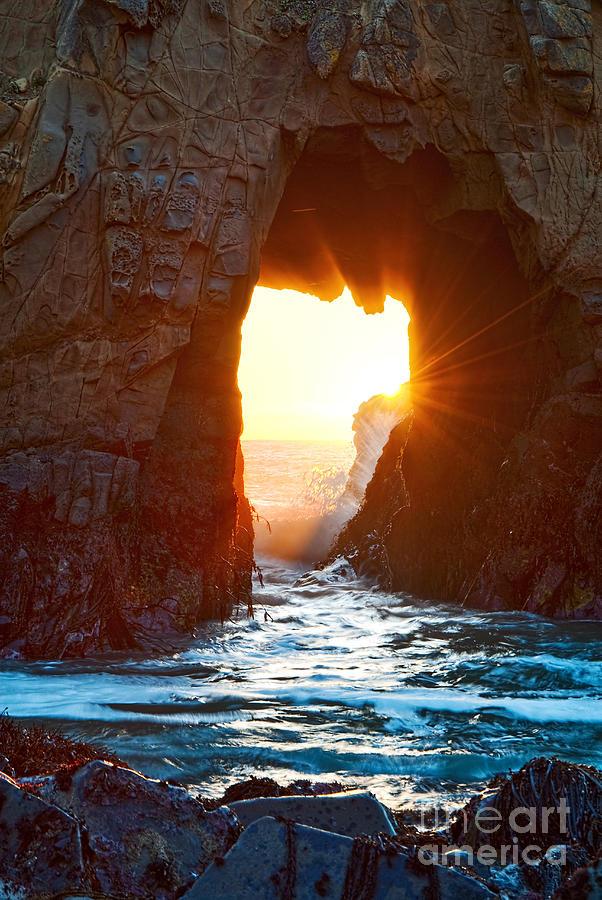 Arch Rock Photograph - Fireburst - Arch Rock In Pfeiffer Beach In Big Sur. by Jamie Pham