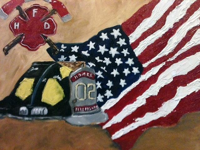 Flag Painting - Firefighers Honored by Jenell Richards