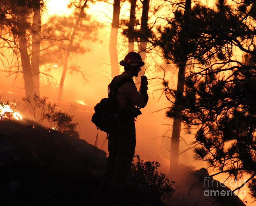 Fire Photograph - Firefighter At Night On The White Draw Fire by Bill Gabbert