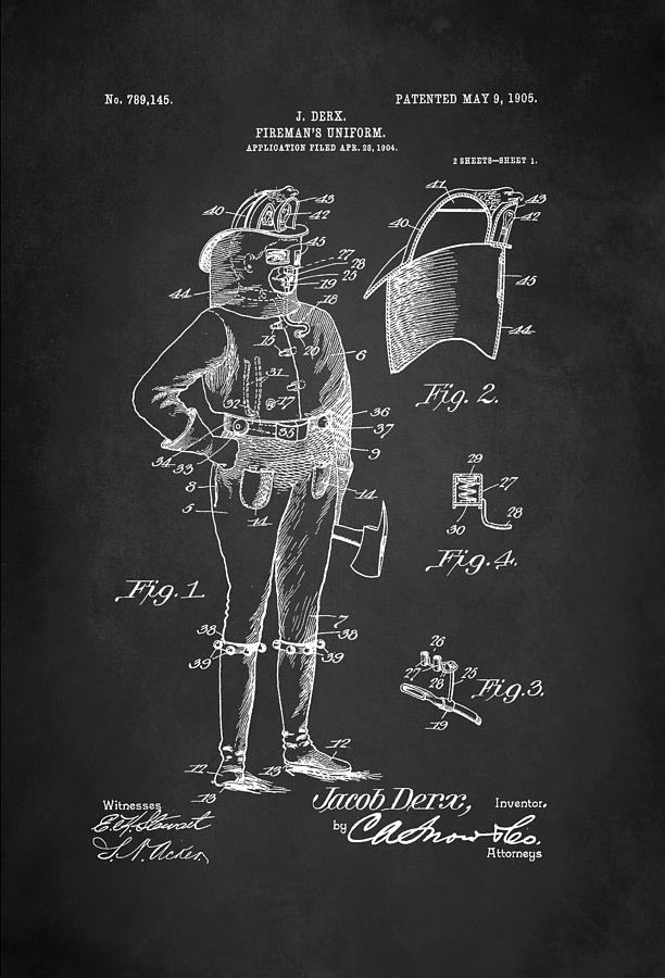 Diagram Digital Art - Firefighter Uniform Patent 1905 by Patricia Lintner
