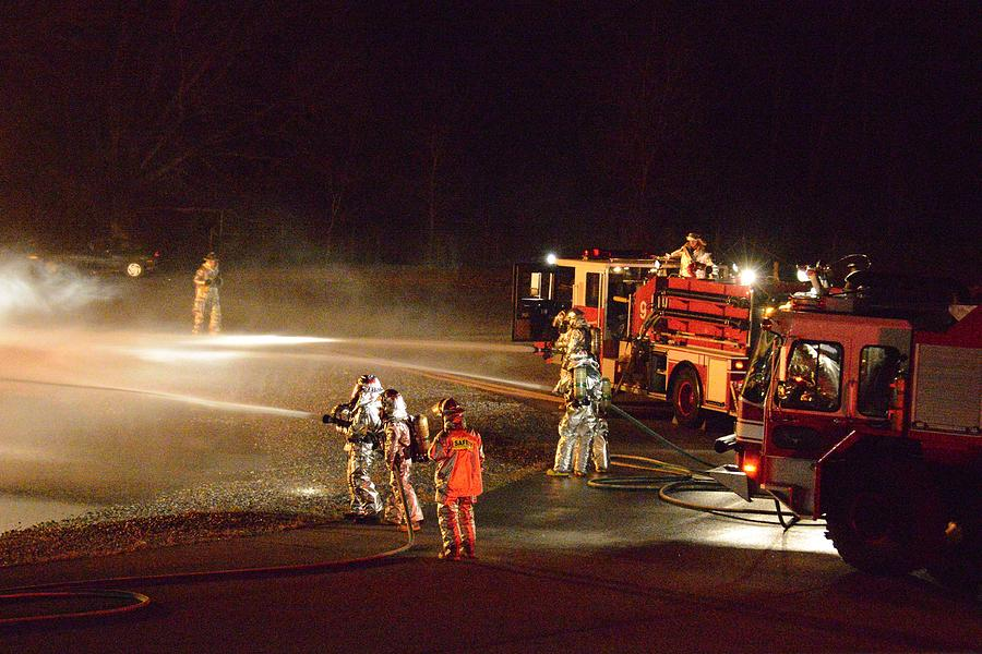 Firefighter Photograph - Firefighters At Work by Aaron Martens
