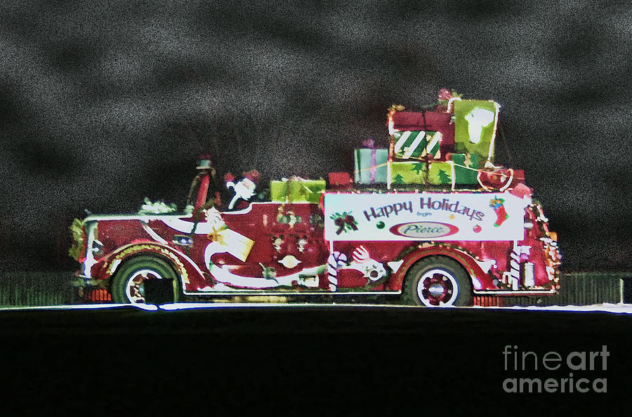 Fire Engine Photograph - Firefighters Christmas by Tommy Anderson
