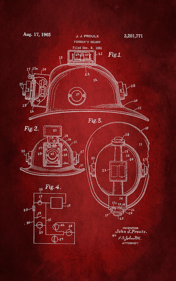 Fireman Helmet Digital Art - Firefighters Helmet Patent 1965 by Patricia Lintner