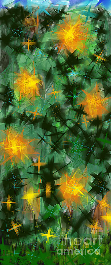 Abstract Digital Art - Fireflies by Lena Wilhite