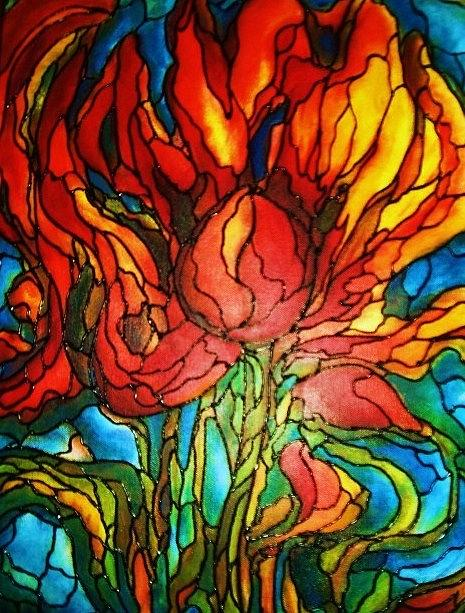 Flower Painting - Fireflower by Rae Chichilnitsky