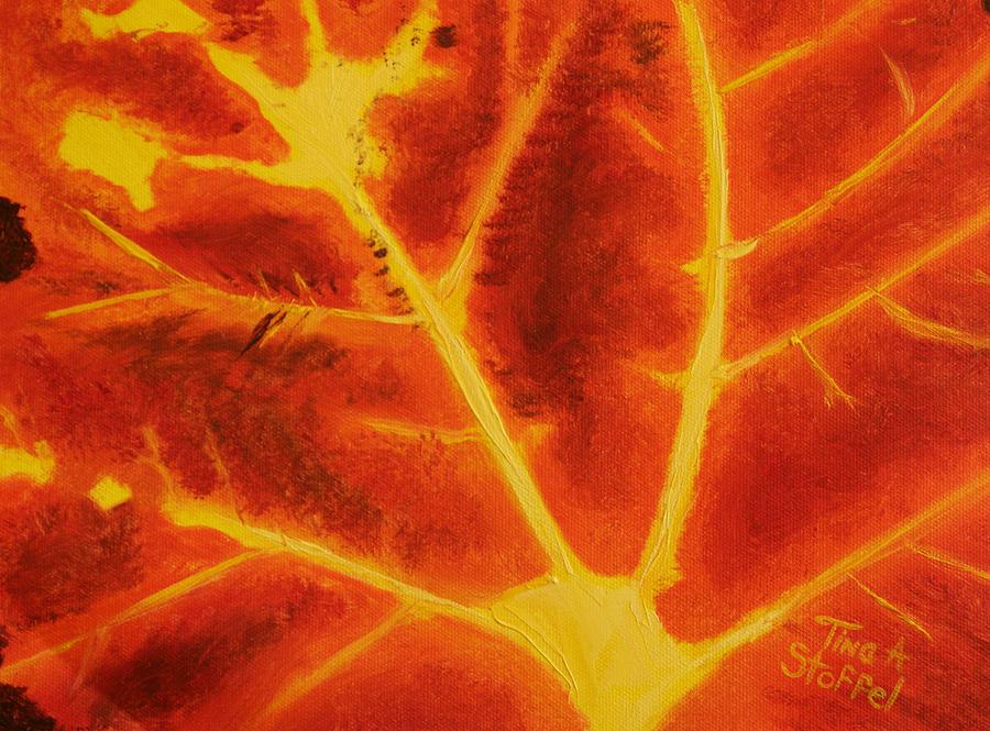 Leaf Painting - Fireleaf by Tina Stoffel