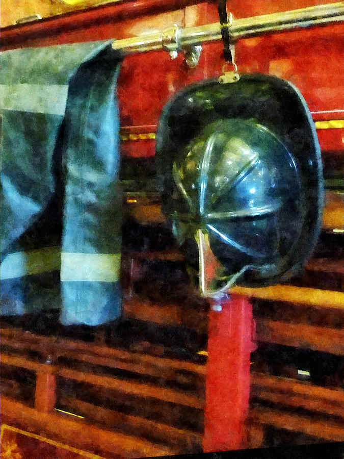 Firefighters Photograph - Fireman - Firemans Helmet And Jacket by Susan Savad