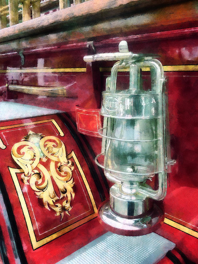 Lantern Photograph - Fireman - Lantern On Old Fire Truck by Susan Savad