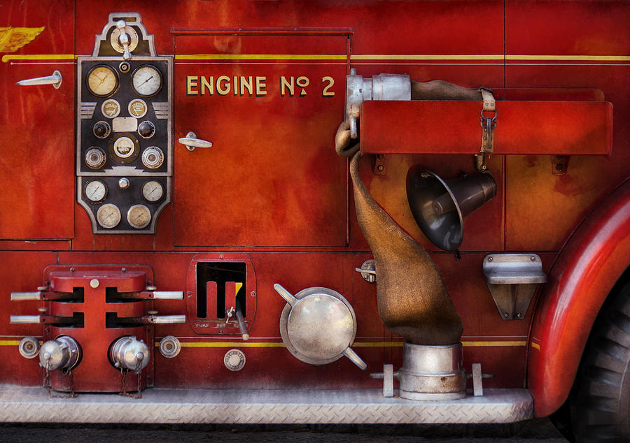 Framed Photograph - Fireman - Old Fashioned Controls by Mike Savad