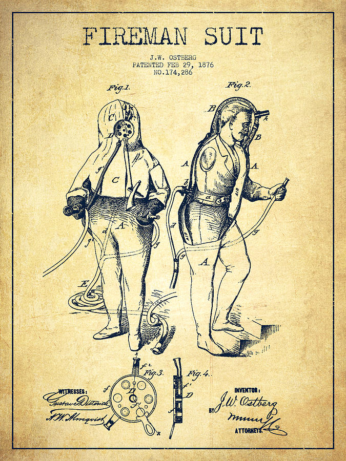 Fireman Suit Patent Drawing From 1826 - Vintage Digital Art by Aged ...