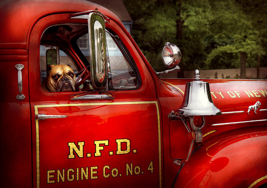 Savad Photograph - Fireman - This Is My Truck by Mike Savad