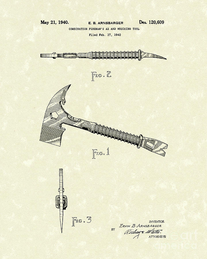 1940 Drawing - Firemans Axe 1940 Patent Art by Prior Art Design