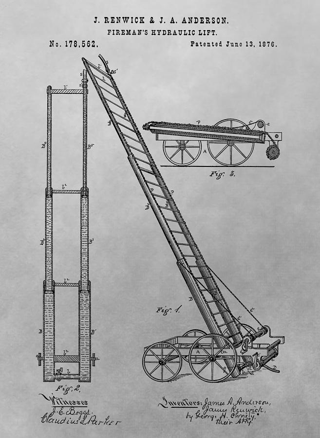 Fireman's Ladder Drawing - Firemans Hydraulic Lift Patent Drawing by Dan Sproul