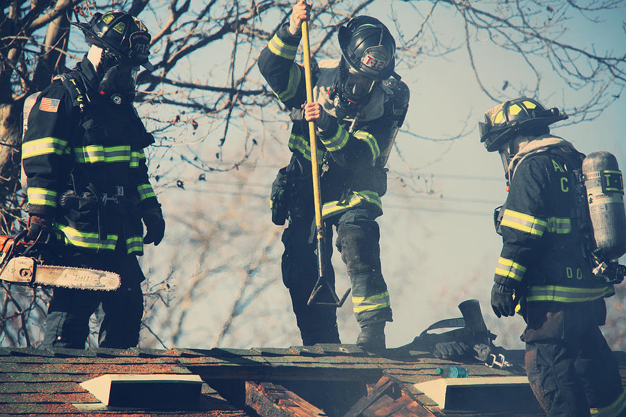 Firemen Photograph - Firemen by Laurie Search