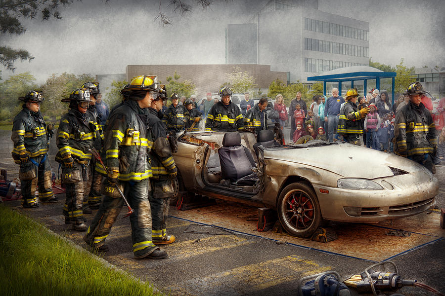 Fireman Photograph - Firemen - The Fire Demonstration by Mike Savad
